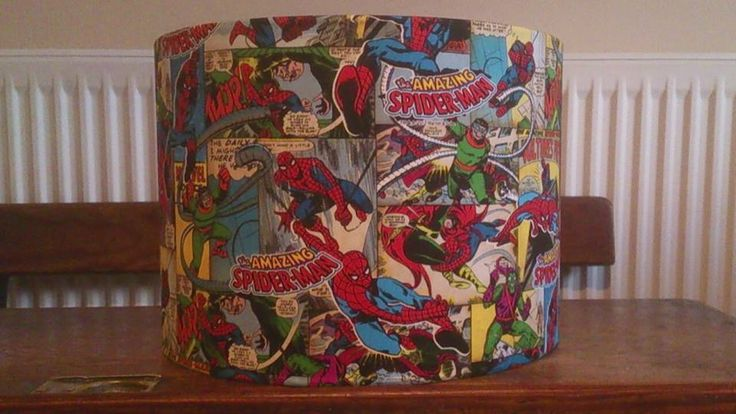 Spider man fabric covered lampshade www.facebook.com/lindaoriordandesigns