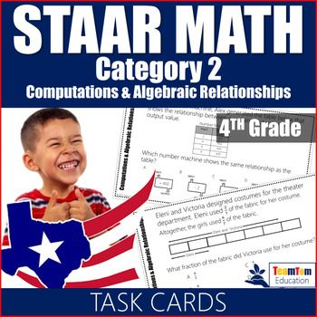 STAAR Math 4th Grade Review Task Cards. This set includes 16 STAAR prep task cards for category 2: computations and algebraic relationships. All questions are aligned with STAAR released tests and are designed to prepare students for the STAAR test! Two versions are included - 10 pages with half-size and 20 pages of full-size STAAR task cards.These task cards address the STAAR readiness standards for category 1.