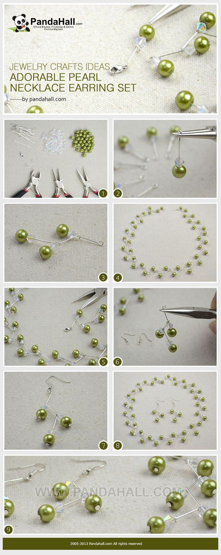 Set de Aros y Collar de Perlas Verdes