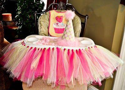 What a cute idea for little girl's 1st birthday a tutu high chair