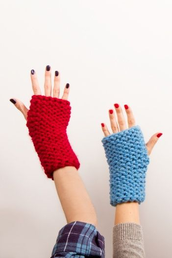 Knock out your first knitting project with our rad fingerless gloves! Easy to make using only the knit stitch, this is a fun beginner project that will have even experienced knitters wanting to get in on the action. #DIY #knitting