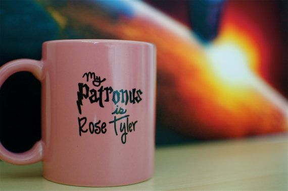 """Doctor Who """"My Patronus is Rose Tyler"""" Hand Painted Mug on Etsy. Omg this needs to be mine. Or my patronus is Bad Wolf."""