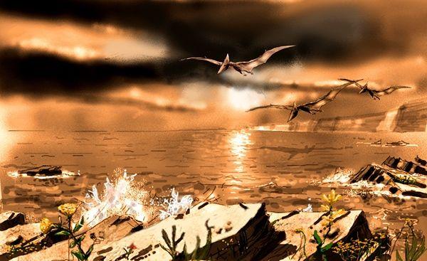 Pterosaurs gliding over a bay by Jan Van Buyten