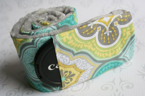 Camera Strap Cover with Lens Cap Pocket - Padded Minky - Moroccan Gray and Teal with Gray Minky- MADE TO ORDER on Etsy, $18.50