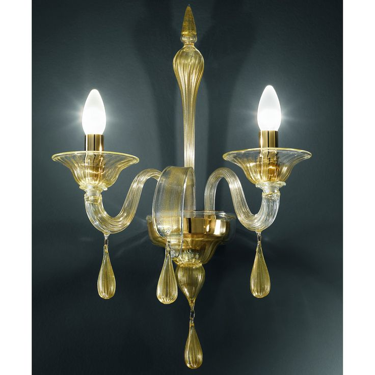 Genuine artistic hand and blown glass wall lamp from the Murano Maestroes Vetrilamp.