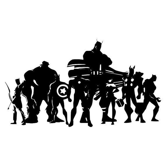 The Avengers Silhouette Avengers Vinyl Wall Large Decal - How to make vinyl wall decals with silhouette