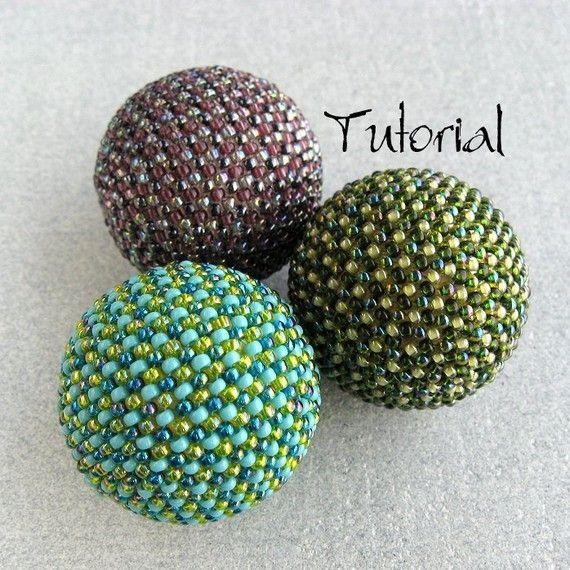 Beaded Bead Pattern JUPITER 34mm Tutorial Instructions Beadweaving Peyote To Cover 30mm Beads