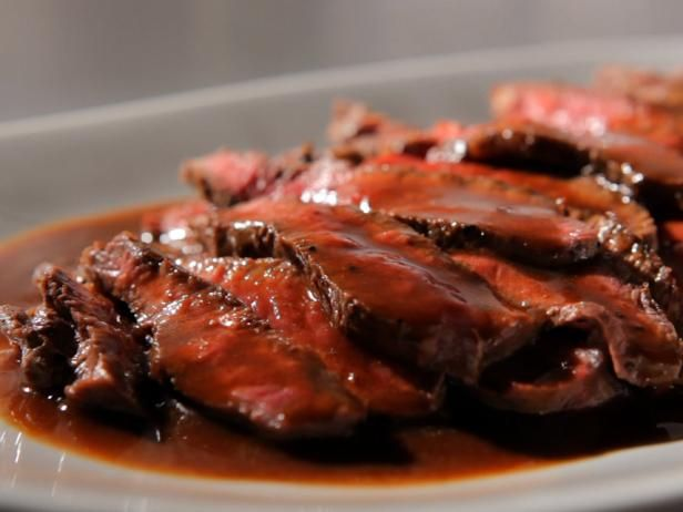 Get Sandra Lee's Flat Iron Steak with Cabernet Sauce Recipe from Food Network