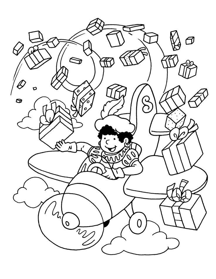 Kleurplaat: Zwarte Piet strooit met de cadeautjes!