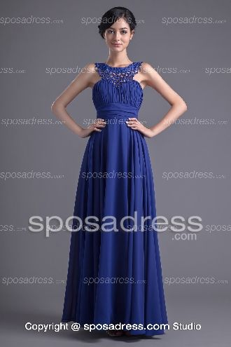 Classical Royal Blue Strap Scoop Pleated Chiffon Prom Dress