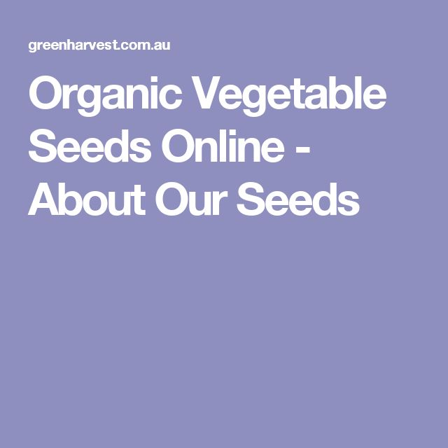 Greenharvest - Organic Vegetable Seeds Online - About Our Seeds