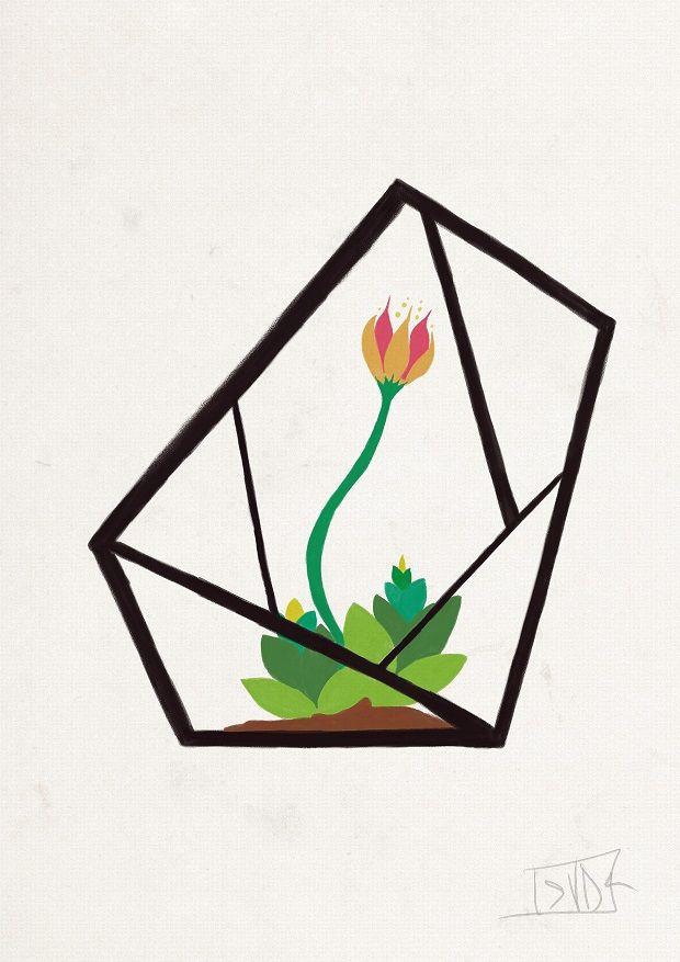 Pot Garden I - ValeriaDraws Digital art #gouache #illustration #print #homedecor