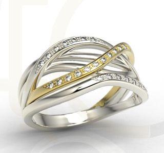 Pierścionek z białego i żółtego złota z brylantami./ 2623 PLN/ White and yellow gold ring with diamonds.   #whitegold #yellowgold #diamonds