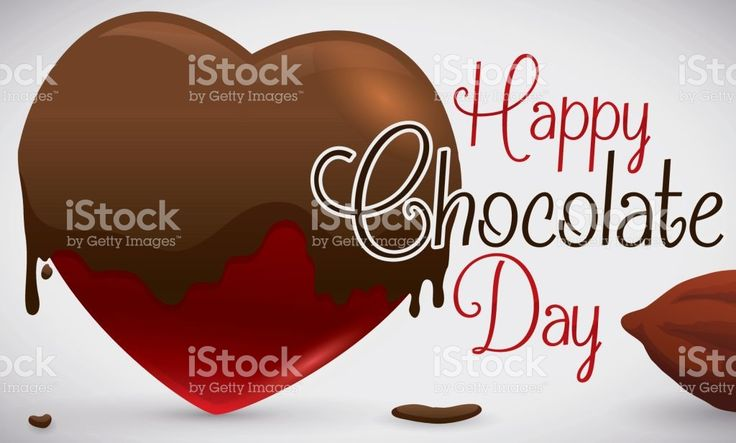 Heart Soaked in Chocolate and Cocoa Bean for Chocolate Day