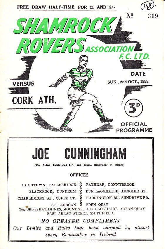 League of Ireland match day programme - Shamrock Rovers v Cork Athletic 1955