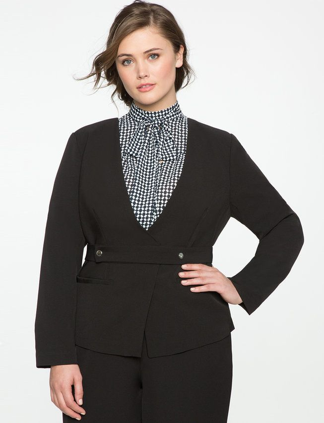 Plus Size Belt Front Blazer Jacket
