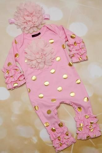 533b8c7f0e3d Baby Girls Pink and Gold Polka Dot Infant Layette Baby Romper and Headband  Outfit Set