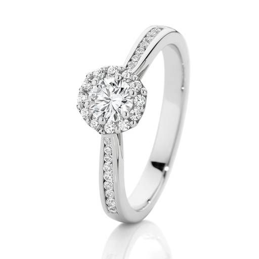 18ct White Gold Diamond Halo Shoulder Solitaire Ring