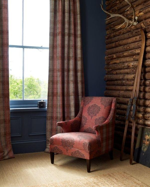 Linwood Fabrics - Hudson Bay collection, love the chair fabric and wall colour