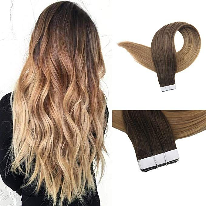 Full Shine Human Hair Extensions 14 Inch Ombre Tape In Extensions