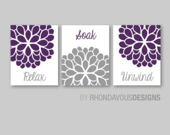 Bathroom Decor - Bathroom Art - Relax Soak Unwind - Flower Bathroom - Bath Art - Bath Decor - Purple Gray - You Pick the Size (NS-553)