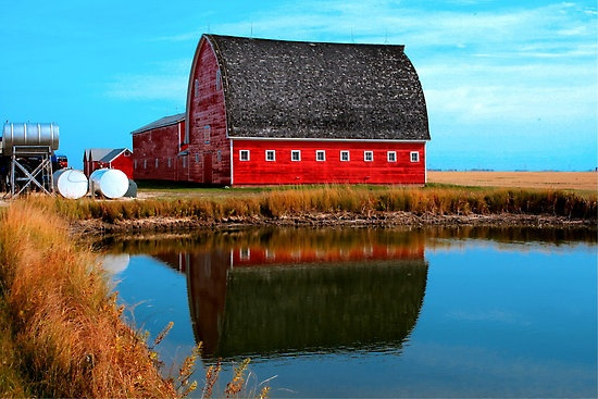 A wonderful, classic red barn in Brunkild, Manitoba, Canada. #Canada #prairies #travel