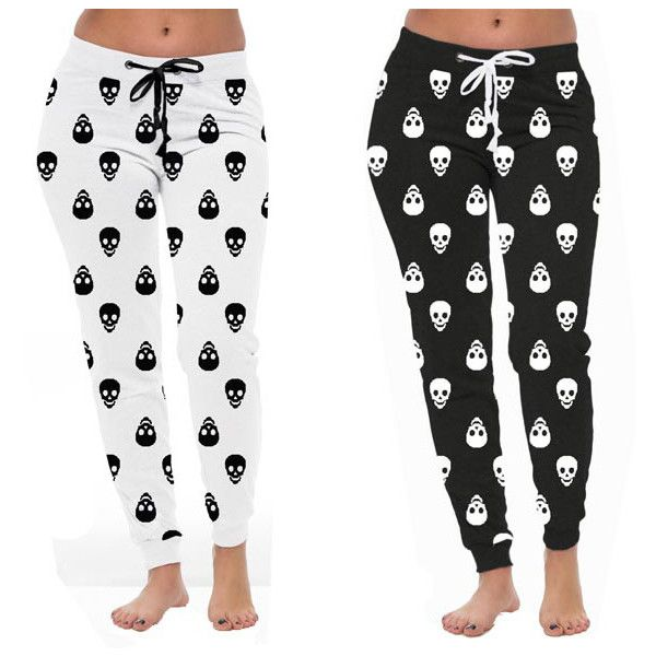 Women's Coco Limon Women's Skull Print Long Joggers... (23 NZD) ❤ liked on Polyvore featuring activewear, activewear pants, white jogger sweatpants, sweat pants, jogger sweatpants, white sweat pants and long sweatpants