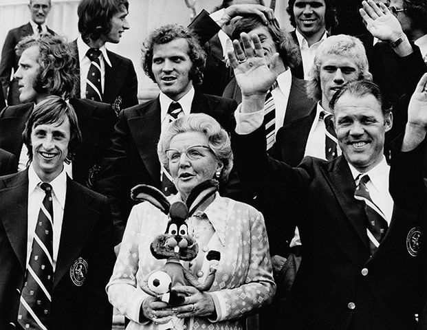 memory lane: Queen Juliana of the Netherlands holds a rabbit mascot