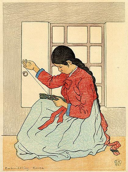 hanga gallery . . . torii gallery: Embroidering, Korea by Elizabeth Keith