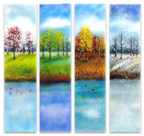 Four Seasons Glass Wall Art: Anne Nye: Art Glass Wall Art | Artful Home