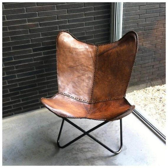Large Handmade Leather Butterfly Chair Made From 100% Buffalo