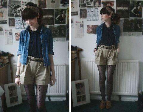 Headband From Scarf From Accesorize, Denim Shirt From Charity Shop, Dark Blue Shirt From Topshop, Shorts From New Look