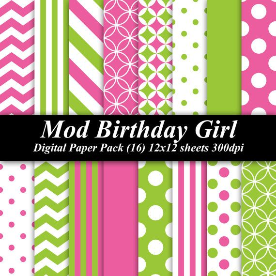Mod Birthday Girl Digital Paper Pack (16) 12x12 sheets 300 dpi scrapbooking invitations birthday green lime pink mod monkey