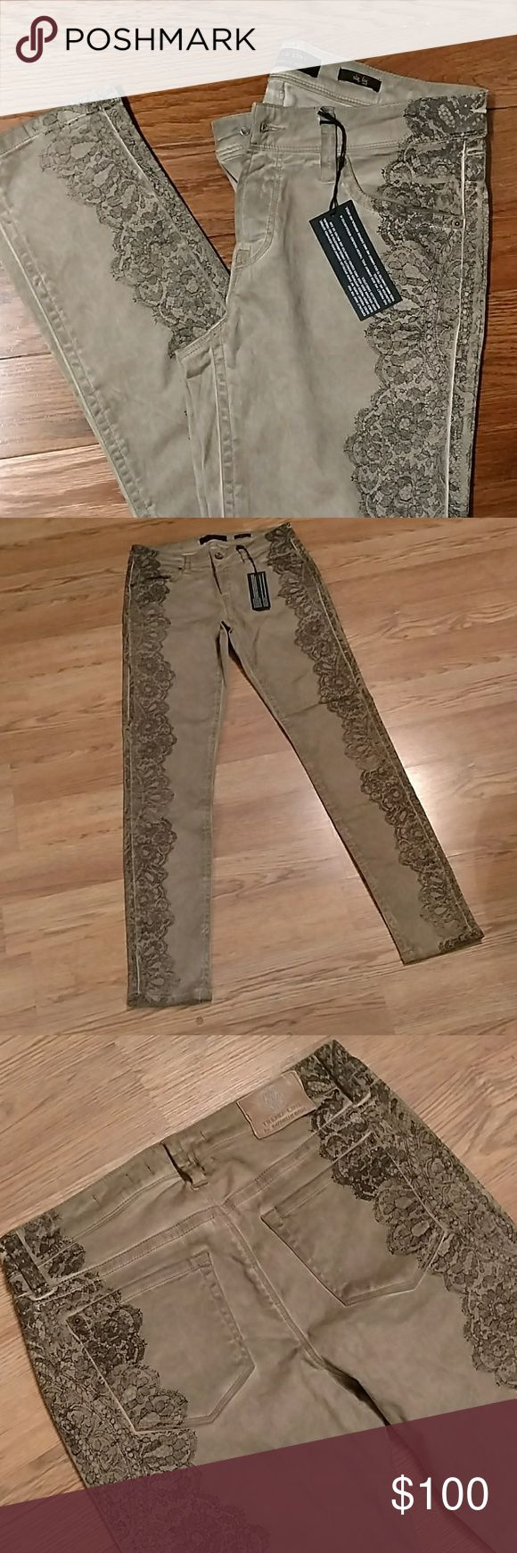 """Rafaello Rossi Trend Line NWT Sinty Lace print pants made in European Union by top designer Rafaello Rossi 98℅ Cotton and 2℅ spandex. Unique dying technique dusts the pants when applying the""""lace"""" portion. Classic 5 pocket with zip and button fly. Slim leg skinny fit. Measure 30"""" waist, 32"""" inseam and front rise is 8"""" European size 36 which seems to be about size 4 in US. New With Tags and Never been worn. Rafaello Rossi Jeans Skinny"""