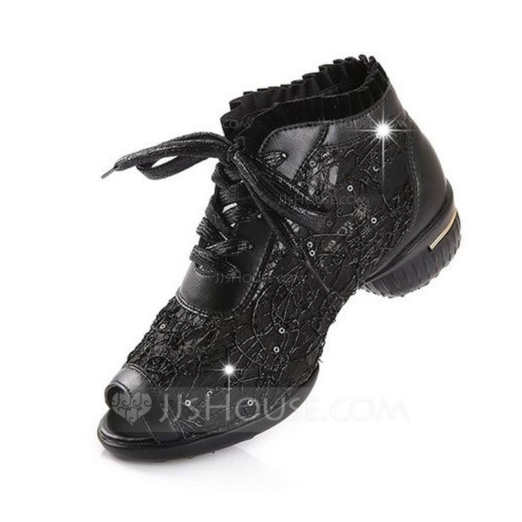 Women's Sneakers Practice Sneakers Real Leather Lace-up Dance Shoes