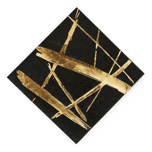 Gold Strokes Black Cocktail Napkins - Small (Pack of 20)