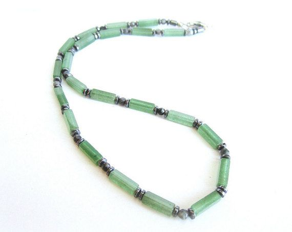 Mens gemstone beaded necklace green aventurine by Bravemenjewelry