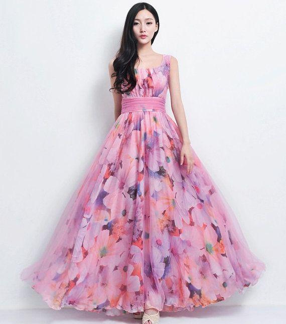 VENDITA Boemia spiaggia floreale stampa Tulle rosa nozze abito completo gonna a pieghe vacanza moda Boho Prom Ball abito damigella d'onore on Etsy, 132,29€