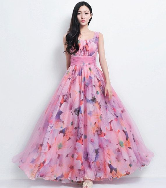 Vintage Pink Floral Print Tulle Chiffon Dress Beach by ChineseHut, $168.00