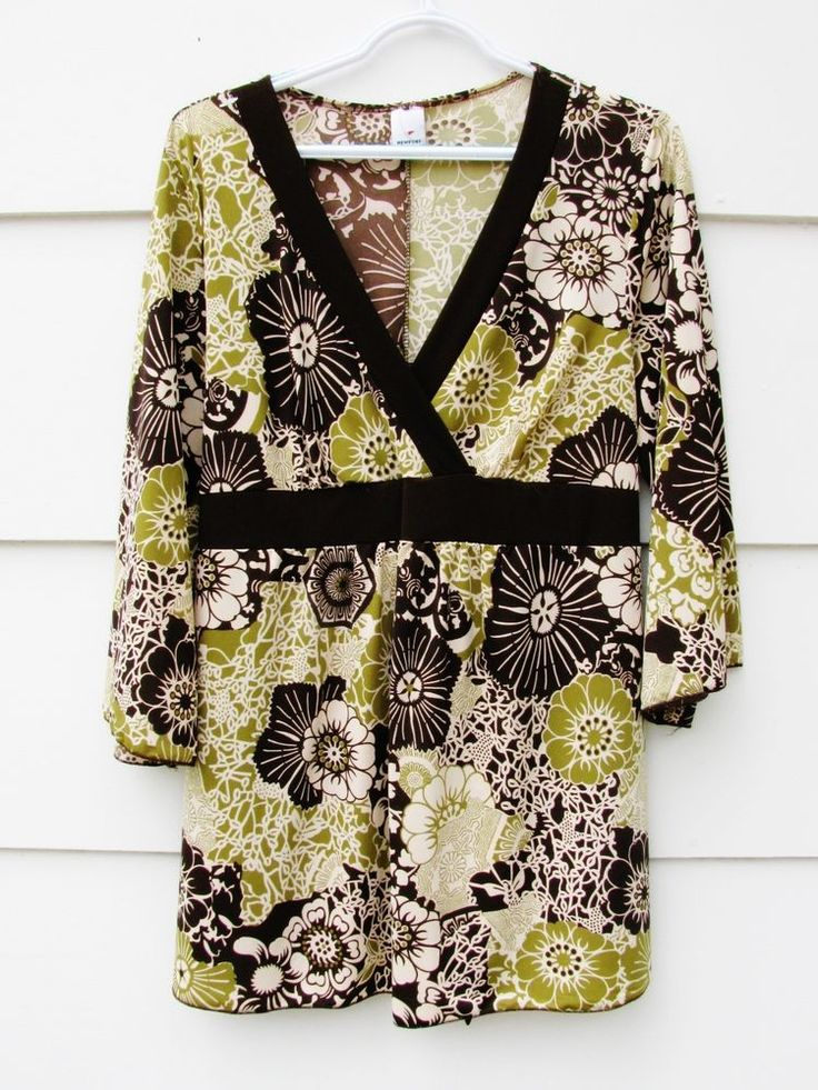 NEWPORT Women's Tunic Top Blouse Tie Back 3/4 Sleeve Floral Tie Empire Waist 1X #Newport #Blouse #Casual