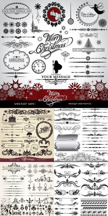 christmas ornaments and design elements vector 450x900 ヴィンテージなクリスマスカード作りにもってこい!飾り枠、飾り罫、飾り文字詰め合わせ    Free Style