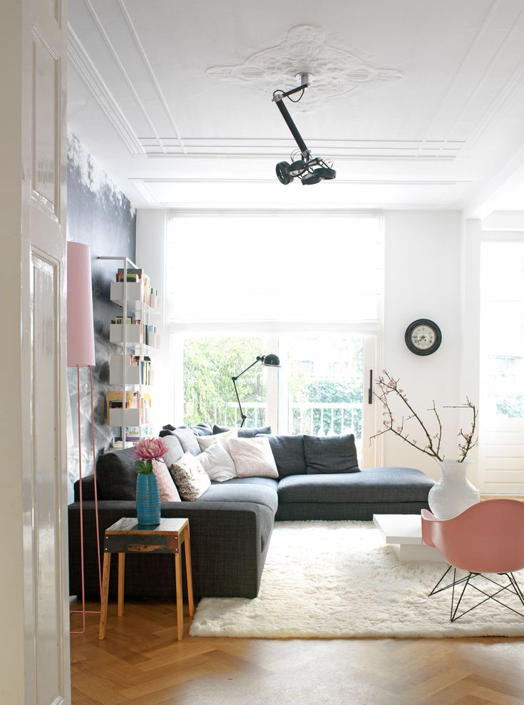 gray white pink -- light colors to lighten room  --chair too mid-century modern but maybe pink in another chair? Or too girly ?