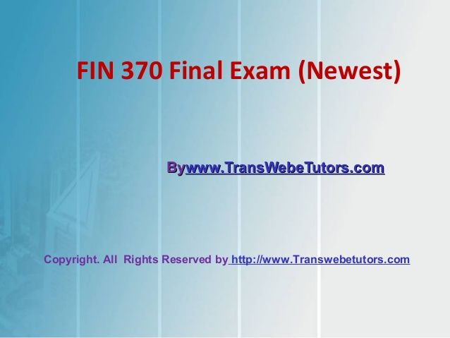 You have come to the right place. We offer instant-download and the very BEST prices anywhere. This document contains A+ work for the course Fin 370 Final Exam Question Answers.