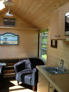 Love this one -- with the pull down bed and small footprint (72 sq ft). Trekker Tiny House from Trekker Trailers on Tiny House Swoon