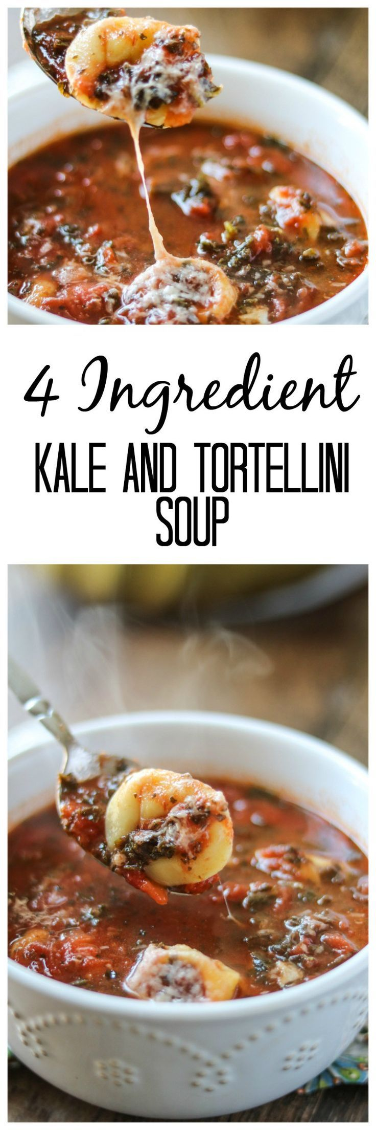 Kale and Tortellini Soup: 4 Ingredients create a comforting, hearty, and delicious soup.
