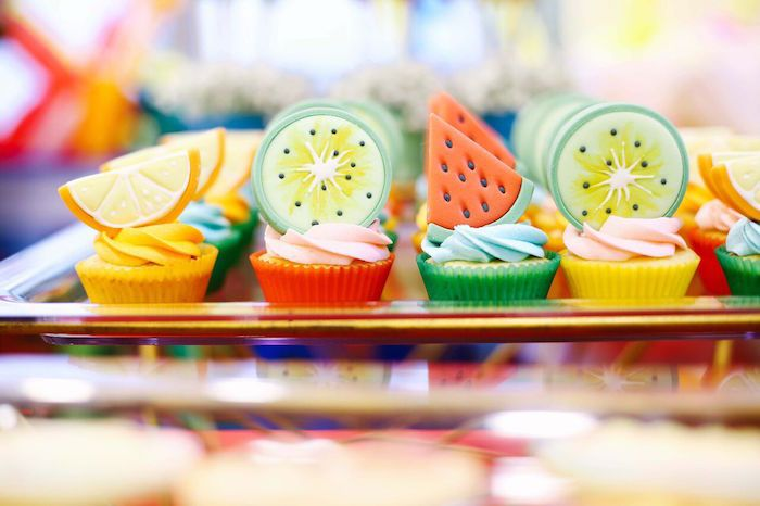 Cupcakes with fondant fruit slices from a TWOtti Frutti Birthday Party on Kara's Party Ideas | KarasPartyIdeas.com (11)