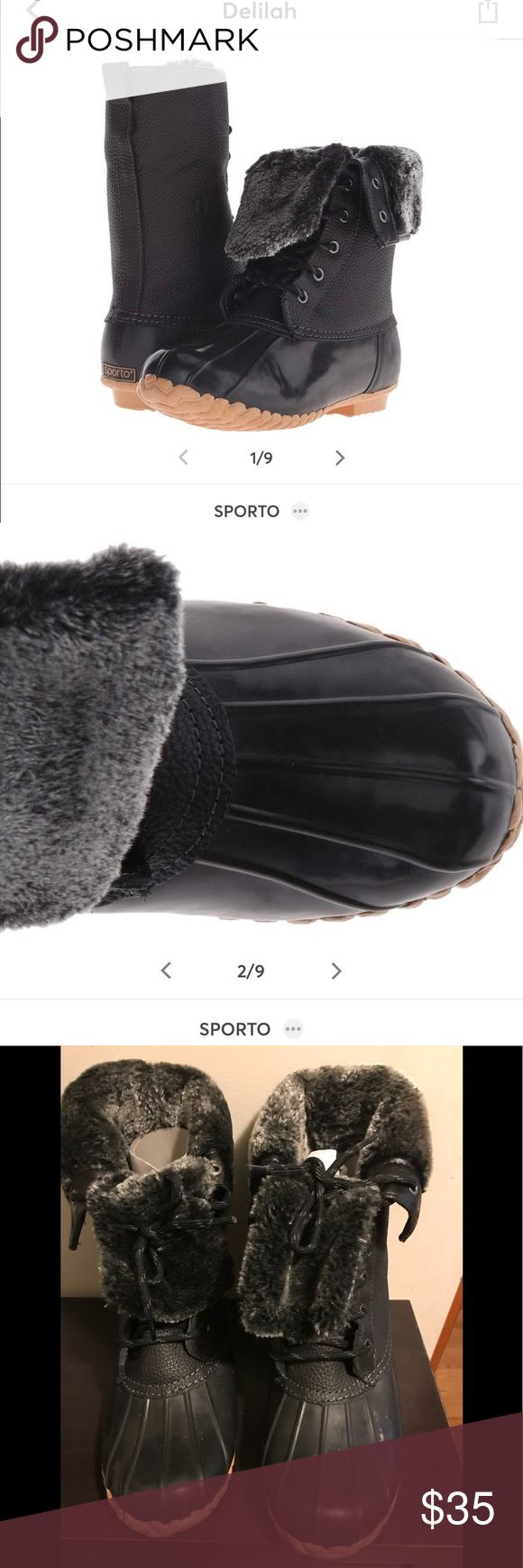 Sporto Boots Worn twice. Excellent condition and very comfy. Just too big for me because I took a chance on a larger size than I normally wear. Size 7 true to size, very soft plush fur inside. Sporto Shoes Winter & Rain Boots