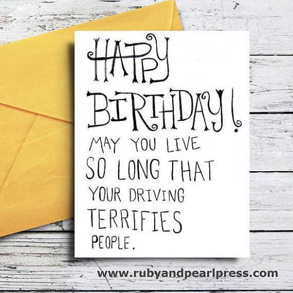 Happy Birthday Driving Terrifies People - Funny Birthday Card - Hand Lettered Design