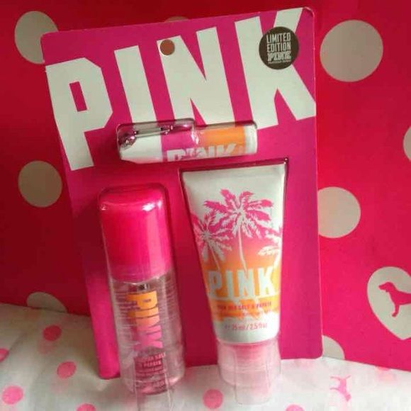 Vs PINK sea salt & papaya set Victoria's Secret PINK pink sea salt & papaya set with all over body mist , fresh glow lotion , and sunscreen keychain lip balm travel set PINK Victoria's Secret Accessories