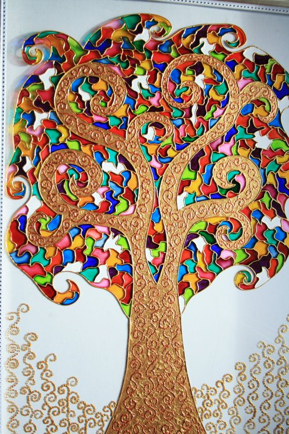The Tree of Life glass painting glass art by GlasssMagic on Etsy